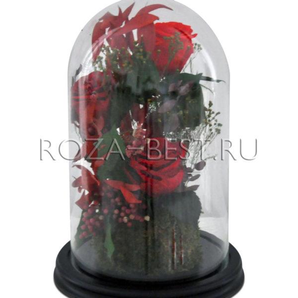 КОМПОЗИЦИЯ «Я ДАРЮ ТЕБЕ СВОЕ СЕРДЦЕ» — БУТОНЫ, МОХ И ДЕКОР (цвет красный)